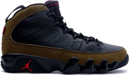 official photos 8e9fd 5cacd Air Jordan 9 (IX) Retro Black   Light Olive - True Red