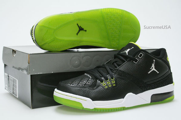 Air Jordan Flight 23 Black / Metallic Silver - Bright Cactus - White