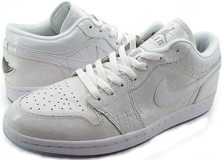 Air Jordan 1 (I) Crocodile Pure Retro Low White / Metallic Silver – White