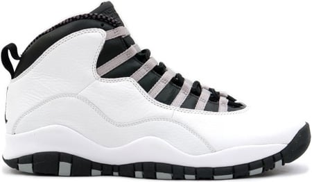 Air Jordan 10 (X) Retro Steel White / Black - Light Steel Grey - Varsity Red