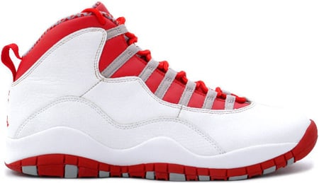 Air Jordan 10 (X) Retro White / Varsity Red - Light Steel Grey