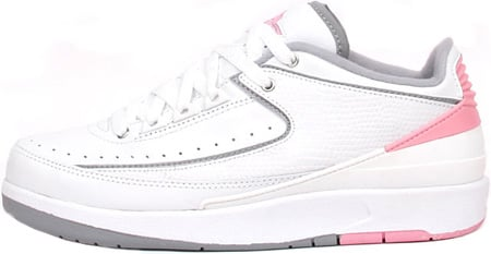 pretty nice f9173 11330 Air Jordan 2 (II) Retro Womens Low White   Light Steel Grey – Real Pink