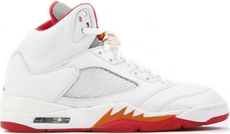 Air Jordan 5 (V) Retro Womens White / Fire Red - Sunset - Dark Cinder
