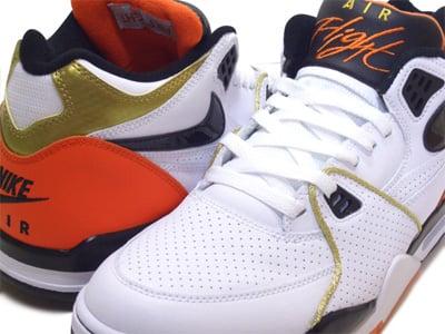 Nike Air Flight 89 - White / Black / Hyper Orange / Metallic Gold