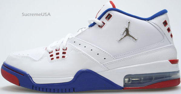 Air Jordan Flight 23 White / Metallic Silver - Blue Ribbon - Varsity Red