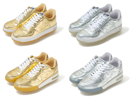 A Bathing Ape Bapesta and Roadsta - Gold and Silver