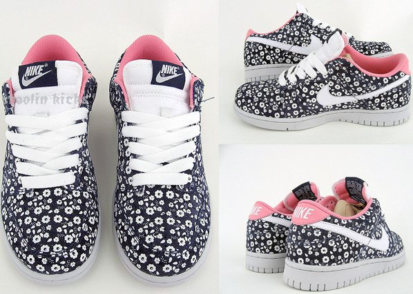 Nike Dunk Low Womens Floral Liberty Fabric Navy / White