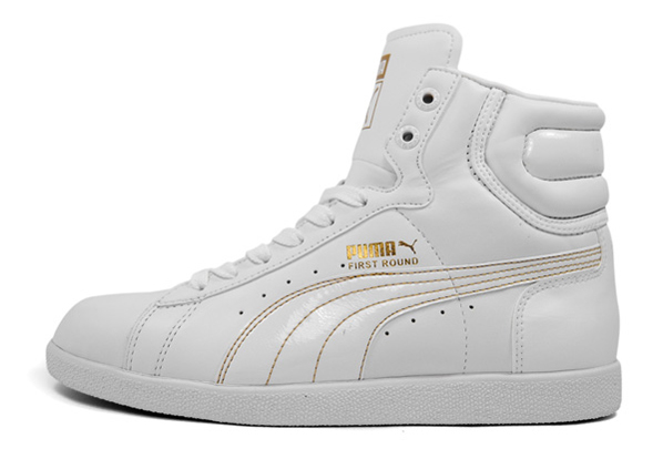 Puma Womens First Round - White / Gold and Black / Silver