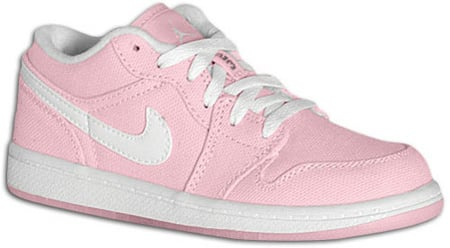 designer fashion 10cdc 1549b Air Jordan 1 (I) Retro Womens Low Canvas Real Pink / White ...