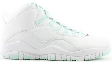 Air Jordan 10 (X) Retro Womens White / Ice Green - Varsity Red