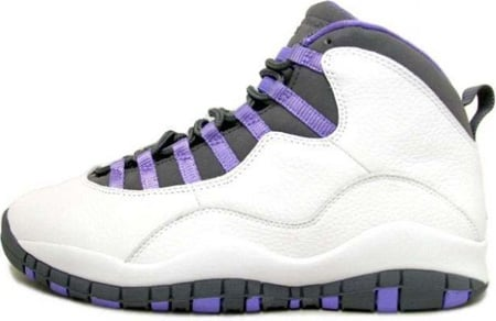 Air Jordan 10 (X) Retro Womens White / Medium Violet - Light Graphite