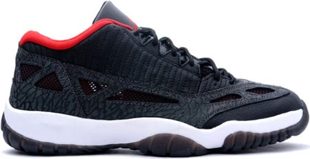 air jordan 11 retro low black\/varsity red-dark charcoal chimney