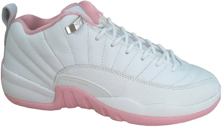 Air Jordan 12 (XII) Retro Womens Low White / Real Pink - Metallic Silver