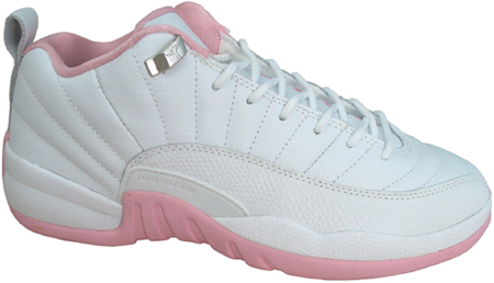 the latest b9669 d2945 Air Jordan 12 (XII) Retro Womens Low White   Real Pink - Metallic Silver