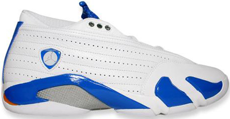 Air Jordan 14 (XIV) Retro Low White / Pacific Blue - Metallic Silver - Bright Ceramic