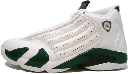 Air Jordan 14 (XIV) Retro White / Black - Deep Forest Green - Light Graphite