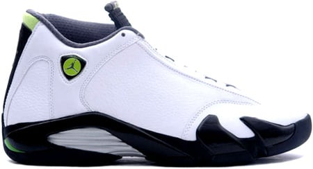 nike air jordan 14 xiv retro (white \/ chartreuse \/ black) purse