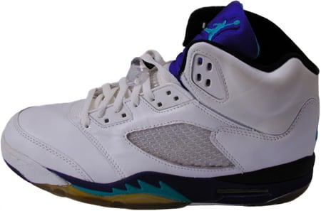 air jordan 5 white/grape ice/new emerald (1990) presumed