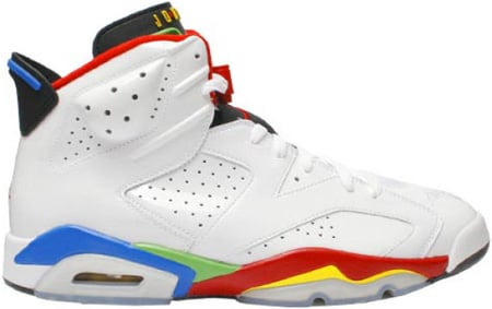 Air Jordan Retro 6 (VI) Olympic 2008 White / Varsity Red - Green Bean - New Blue