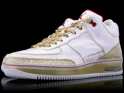 Air Jordan Force Fusion 3 (III) Premier White / Metallic Gold - Varsity Red
