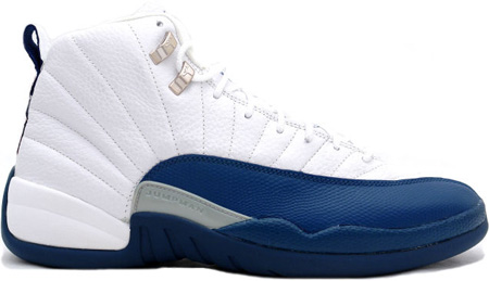 Air Jordan 12 (XII) Retro White / French Blue - Metallic Silver - Varsity Red