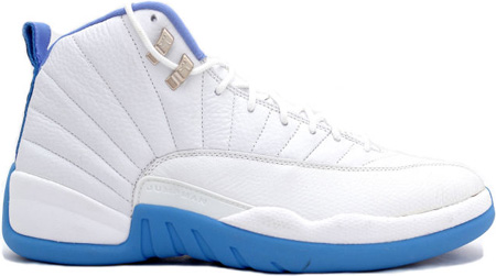 air jordan 12 retro melo white university blue metallic silver