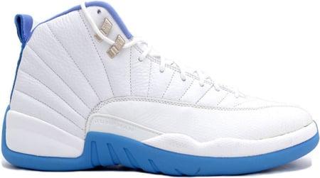Air Jordan 12 (XII) Retro Melo White / University Blue - Metallic ...