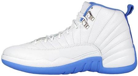 Air Jordan 12 (XII) Retro Womens White / University Blue ...
