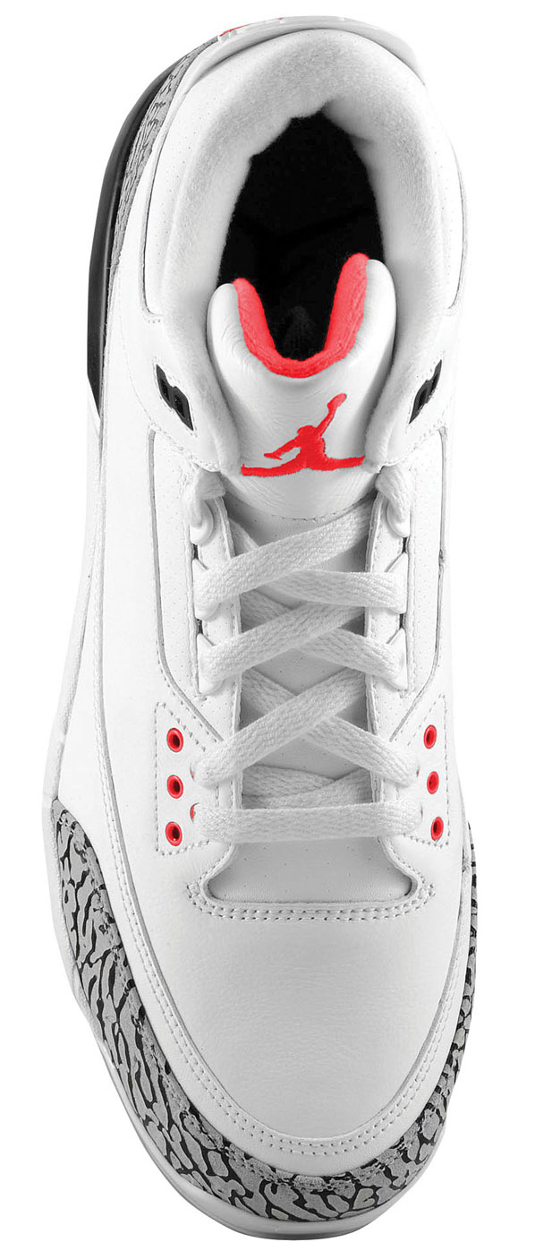 Air Jordan Retro 3 (III) Cleat D White / Fire Red - Cement