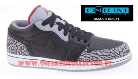 Air Jordan I (1) Retro Low PHAT - Black / Cement Grey - Varsity Red