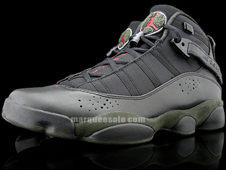 Air Jordan Six Rings LS - Black / White / Dark Army / Varsity Red