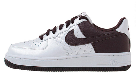 Nike Womens Air Force 1 - Metallic Summit / White - Deep Burgundy