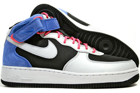 Nike Air Force 1 Premium Mid 07 - Black / Neutral Grey / Varsity Royal / Flamingo