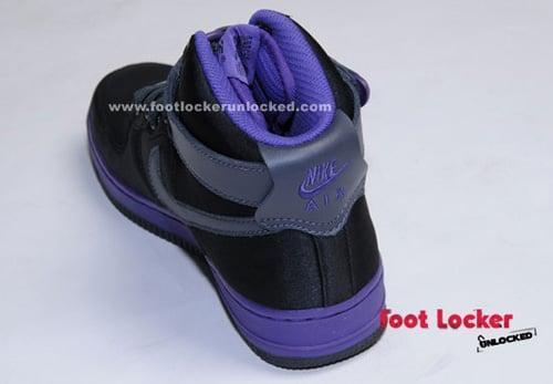 Nike Air Force 1 Womens Black Satin / Purple