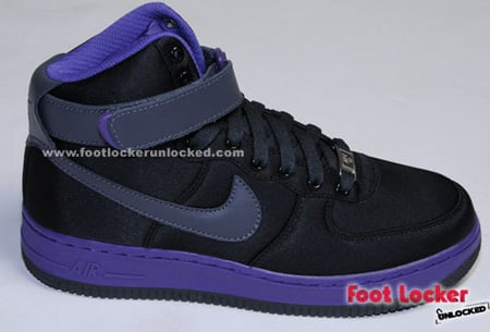 Nike Air Force 1 Womens Black Satin / Purple