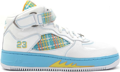 Air Jordan Fusion 5 (AJF 5) Plaid White / Orange Peel - Blue Chill - Varsity Maize