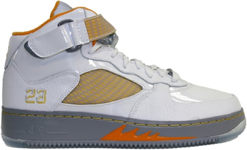 Air Jordan Fusion 5 (AJF 5) White / Orange Peel - Blue - Stealth - Varsity Maize