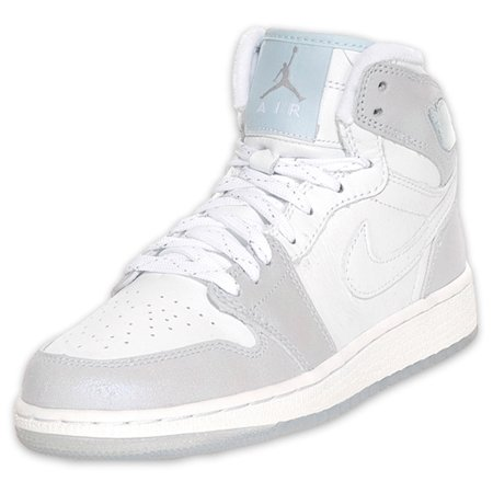 Girls Air Jordan I (1) White Metallic Silver Pale Blue