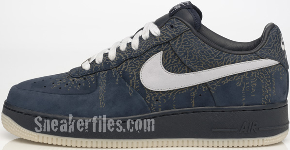 Nike Air Force 1 Low Elephant Print Blue / Black - Silver