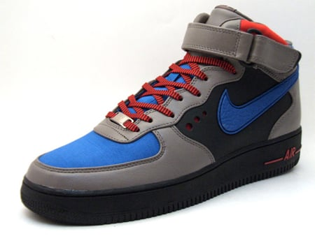 Nike Air Force 1 Mid Supreme Grey Blue Black Red