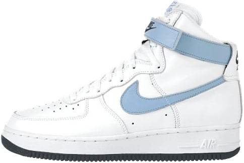 Nike Air Force 1 (Ones) 1995 High White / Dark Powder Blue - Black