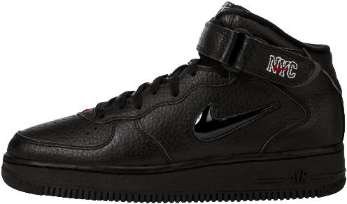 Nike Air Force 1 (Ones) 1996 Mid SC NYC Black / Black - Varsity Red - Silver