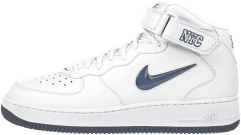 Nike Air Force 1 (Ones) 1998 Mid SJ QUA NYC White / Metallic Midnight Navy