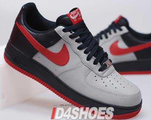 Nike Air Force 1 (One) Low - Medium Grey / Varsity Red - Black