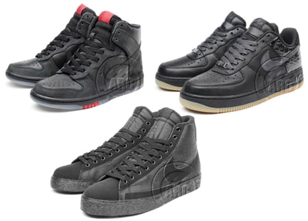 Nike Blazer High, Nike Dunk High, Nike Air Force 1 Low - Black