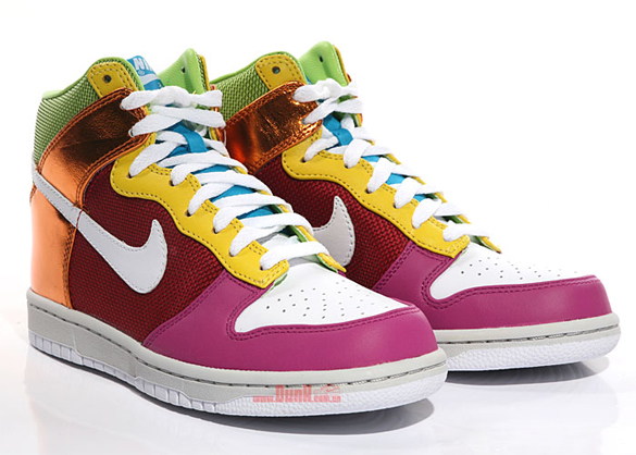 Nike Womens Dunk High Premium - White / White / Varsity Red / Rave Pink