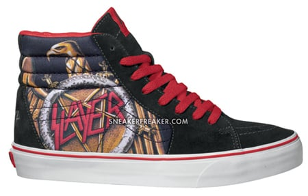 Side angles of the Slayer x Vans SK8-HI