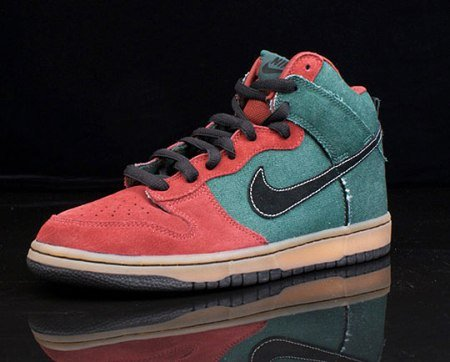 Nike Dunk Hi SB | Red/Green Denim