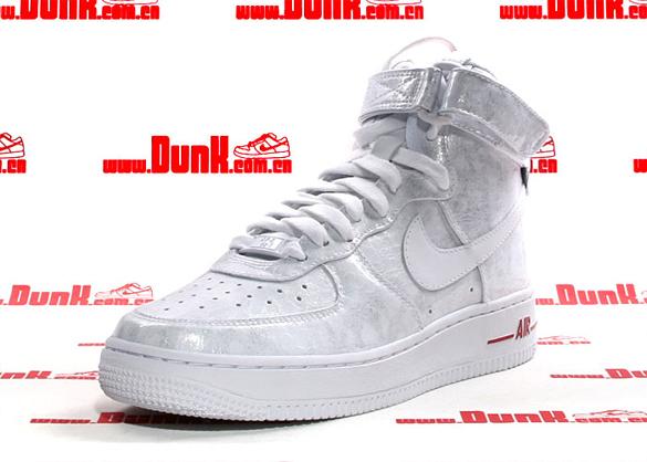 Nike Womens Air Force 1 High Premium - White / White - Varsity Red