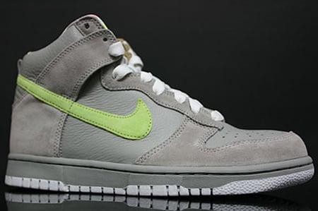 Nike Womens Dunk High - Medium Grey / Liquid Lime - White